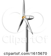 Clipart Of A Wind Turbine Royalty Free Vector Illustration