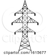 Clipart Of A Power Pylon Royalty Free Vector Illustration