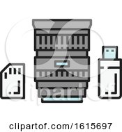 Clipart Of A Camera Lens Ssd Card And Usb Drive Royalty Free Vector Illustration