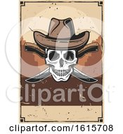 Clipart Of A Wild West Cowboy Skull Wearing A Hat Over Knives On A Distressed Background Royalty Free Vector Illustration