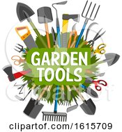 Clipart Of A Circle Of Garden Tools With Text Royalty Free Vector Illustration