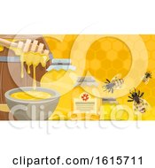 Clipart Of A Honey And Bee Background Royalty Free Vector Illustration by Vector Tradition SM