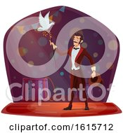Clipart Of A Magician Performing With A Bird Royalty Free Vector Illustration
