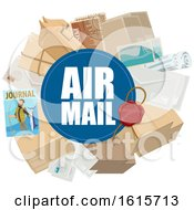 Clipart Of A Wax Seal With Air Mail Text And Packages Royalty Free Vector Illustration