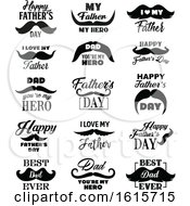 Clipart Of Black And White Fathers Day Greetings And Mustaches Royalty Free Vector Illustration