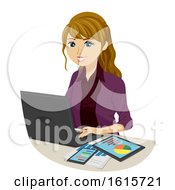 Poster, Art Print Of Teen Girl Accounting Course Graphs Illustration