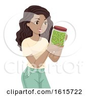 Teen Girl Broccoli Sprouts Illustration