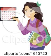 Poster, Art Print Of Teen Girl Calendar Schedule Illustration