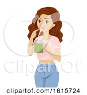 Teen Girl Drink Broccoli Sprout Shake Illustration