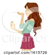 Teen Girl Sniff Perfume Wrist Illustration