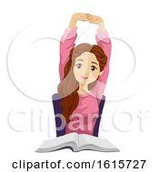 Teen Girl Stretching Illustration