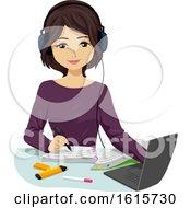 Poster, Art Print Of Teen Girl Study Music Illustration