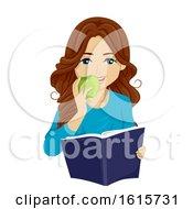 Poster, Art Print Of Teen Girl Study Snack Illustration