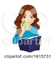 Teen Girl Study Snack Illustration by BNP Design Studio