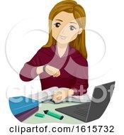 Teen Girl Time Check Illustration