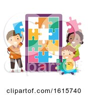 Poster, Art Print Of Stickman Kids Cellphone Puzzle Illustration