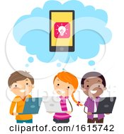 Stickman Kids Mobile Apps Develop Think
