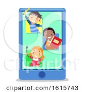 Stickman Kids Mobile Apps Education Illustration