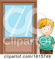 Kid Boy Outside Principal Office Illustration