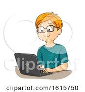 Kid Boy Reading Glass Laptop