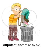 Kid Boy Throwing Books Trash Illustration