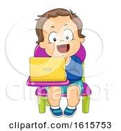 Kid Boy Toddler School Laptop Illustration