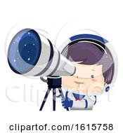 Kid Boy Space Telescope Illustration