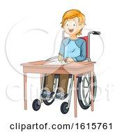 Kid Boy Wheelchair Exam Illustration