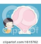 Poster, Art Print Of Kid Girl Mermaid Clam Board Illustration