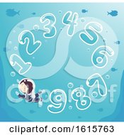 Kid Boy Numbers Underwater Illustration