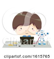 Kid Boy Laptop Program Robot Illustration