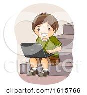Kid Boy Laptop Stairs Illustration
