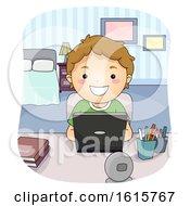Kid Boy Laptop Study Bedroom Illustration
