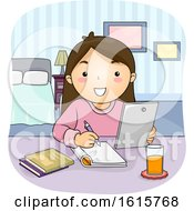 Kid Girl Tablet Study Bedroom Illustration