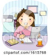 Kid Girl Tablet Study Bedroom Illustration by BNP Design Studio