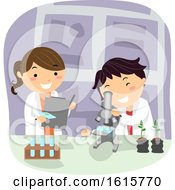 Stickman Kids Botanist Microscope Lab Illustration