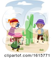 Stickman Kids Botanist Cactus Desert Illustration