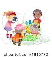 Poster, Art Print Of Stickman Kids Botanist Observe Flowers