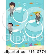 Stickman Kids Bubbles Underwater Illustration