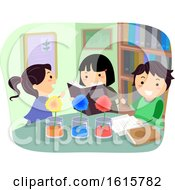 Stickman Kids Plant Absorb Color Illustration