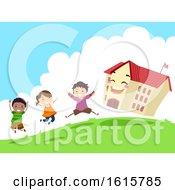 Stickman Kids School Jump Fun Illustration