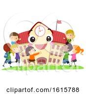 Stickman Kids School Mascot Hug Illustration