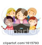 Stickman Kids Teacher Show Laptop Illustration