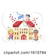 Poster, Art Print Of Stickman Kids Virtual School Illustration