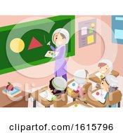 Stickman Kids Muslim Teacher Class Illustration