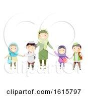 Stickman Kids Muslim Teacher Students Illustration