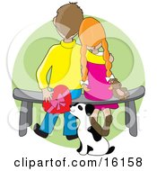 Sweet Boy Sitting On A Bench Beside His Red Haired Girlfriend Who Is Resting Her Head On His Shoulder As A Dalmation Puppy Tries To Steal A Box Of Valentines Day Chocolates From Behind Them Clipart Illustration Image by Maria Bell