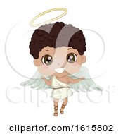 Kid Boy Black Angel Illustration