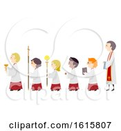 Stickman Kids Altar Boys Line Priest Illustration