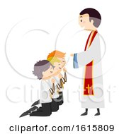 Stickman Kids Altar Servers Ordinate Illustration
